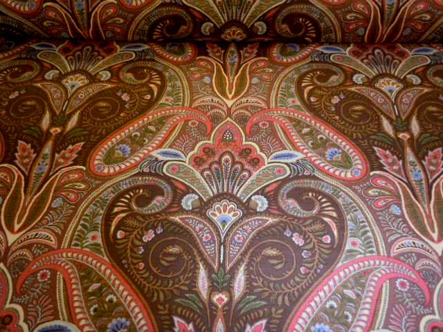 jay yang pattern dorset paisley decorating fabric color brown indian medallion print design - Decorator Fabric