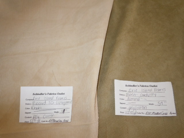 Colors Almond And Khaki Corduroy Fabric Small Wale Pincord Design