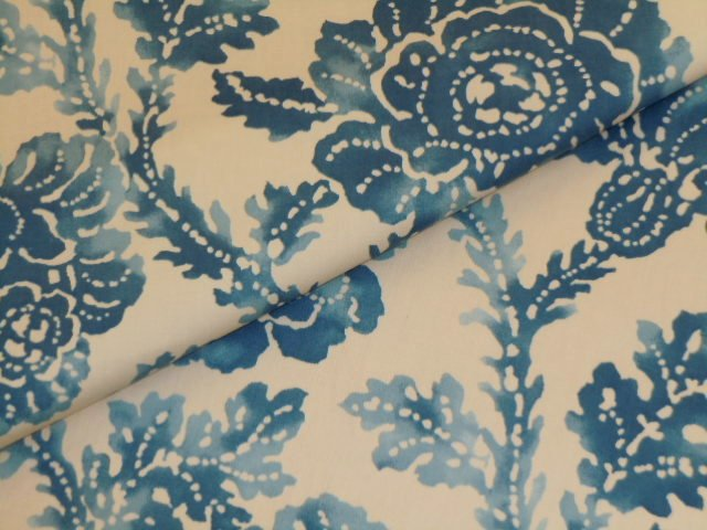 Closeup Folded Image Of P Kaufmann Color Blue Sand Pattern Morning Tide Home  Decor Fabric.