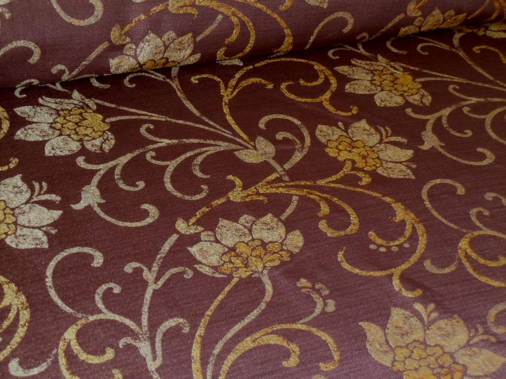 Pattern Mulberry Color Espresso Upholstery Fabric Interior Decorating Floral Scroll From Our Erie Islands Fabrics