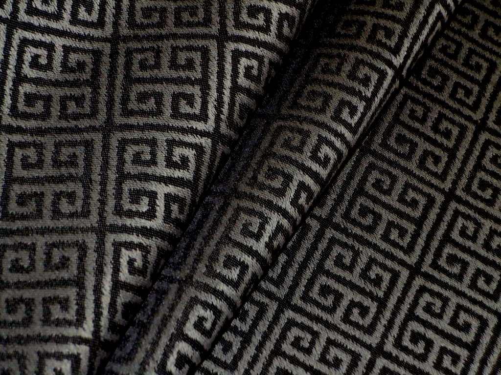 Greek Key Design Richloom Alpena Color Graphite Upholstery Fabric