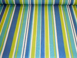 Pattern Padre Awning Stripe Lagoon outdoor and marine canvas color blues, yellow and white stripes up the roll