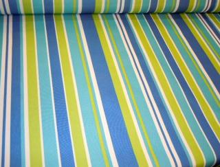 Angled image of Pattern Padre Awning Stripe Lagoon outdoor and marine canvas color blues, yellow and white stripes up the roll