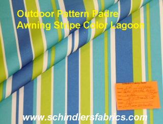 Pattern Padre Awning Stripe Lagoon outdoor and marine canvas color blues, yellow and white stripes