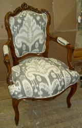 Chair in Ikat Pattern Azaka Color Quartz Home Decorating Fabric