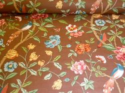 Hand printed Bailey and Griffin Floral and Birds home decor fabric Blair on cutting table