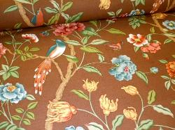 Angled image of Floral and Birds pattern Blair home decor Fabric