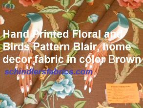 Hand Printed Floral and Birds design, Pattern Blair, home decor fabric in color Brown
