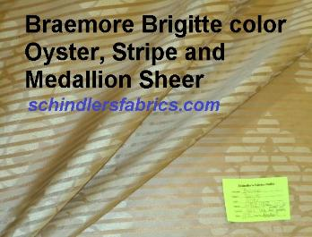 Braemore Brigitte color Oyster Stripe and Medallion Sheer Drapery Fabric