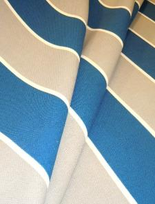 Drape curtain image of Discount Outdoor basketweave fabric Cabana Stripe, color Lagoon