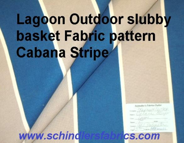Schindler's Shop tag for Lagoon Outdoor slubby basket Fabric pattern Cabana Stripe