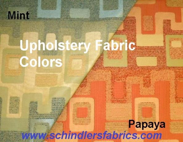 Contemporary Geometric Pattern Calder Upholstery Fabric, in Mint or Papaya