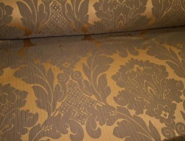 Candice Olson Pattern Pearson Color Bronze Fabric a rich contemporary damask pattern home decor and interior design fabric, with a slight crinkled, ribbed and padded effect, from the Candice Olson Collection
