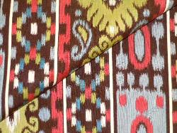 Closeup folded image railroaded stripe ikat design Casablanca in Color Brown
