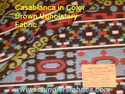 Schindler's Fabrics Shop tag for Pattern Casablanca in Color Brown Upholstery Fabric