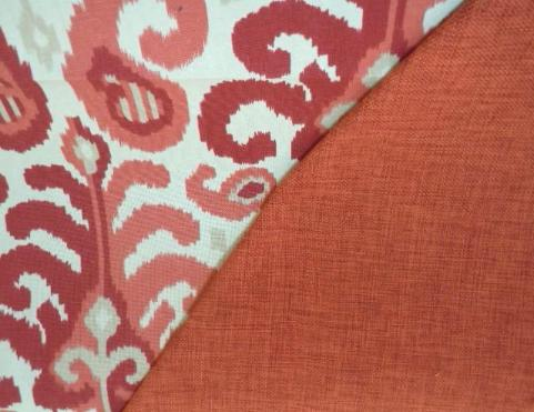 coordinating Abstract Ikat Paisley pattern with solid plain in flame red for home decor, from Duralee's Suburban Home Collection