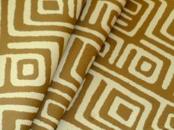 Covington Pattern Jabari color Sand outdoor fabric, large modified greek key geometric design
