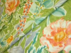 colorful floral design from P Kaufmann in coral, gold, green, purple, aqua and white