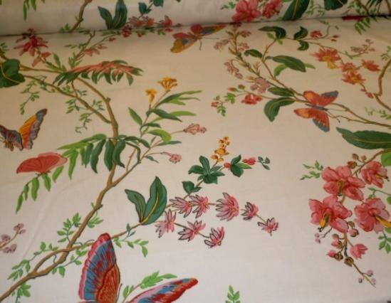 Angled image of Cyrus Clark Co. Pattern Cortile Chintz Color Spring floral & butterfly design Decorator Fabric