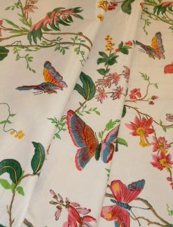 Draped curtain image of Color Spring floral & butterfly design Decorator Fabric, Cyrus Clark Co. Pattern Cortile Chintz