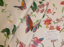 Schindler's Upholstery and Fabric Shop tag for Color Spring floral & butterfly design Decorator Fabric, another Buyout of Distributor Warehouse Fabric Shorts, from our Erie Island Fabrics Bargain Buys
