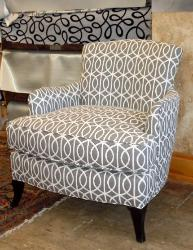 upholstered chair in decorator fabric from Robert Allen @ Home