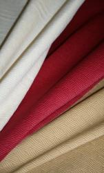 Right draped Erie Islands Fabrics Shogun Basic Solid Colors Natural Cherry Buff Fabric