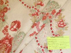 Schindler's Upholstery Shop tag for Fabricut floral stripe linen blend fabric Alderwood Raspberry