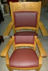 Detailing of Upholstered Donated Antique Rocker in Burgundy Leather