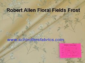 Schindler's Shop tag for Robert Allen Pattern Floral Field Color Frost upholstery and decorating fabric
