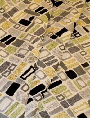 draped curtain image of contemporary geometric Geiger color Oasis Upholstery Fabric