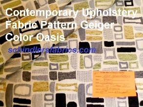 Contemporary Geometric Pattern Geiger Color Oasis Upholstery Fabric with chenille accents, gray, yellow and green on cream