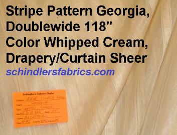 Stripe Pattern Georgia Color Whipped Cream Drapery Curtain Sheer