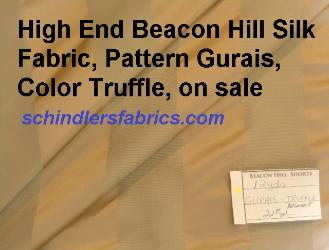 High End Beacon Hill Fabric Gurais Color Truffle silk in stripe pattern, discounted closeout sale