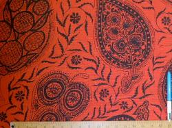 Sample of paisley design floral pattern Hayden in Linen