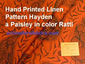 Hand Printed Linen Pattern Hayden a Paisley in color Ratti
