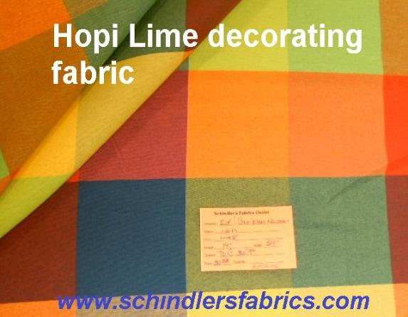 Schindler's Shop tag for Hopi Color Lime woven decorating fabric with bright colored large check design
