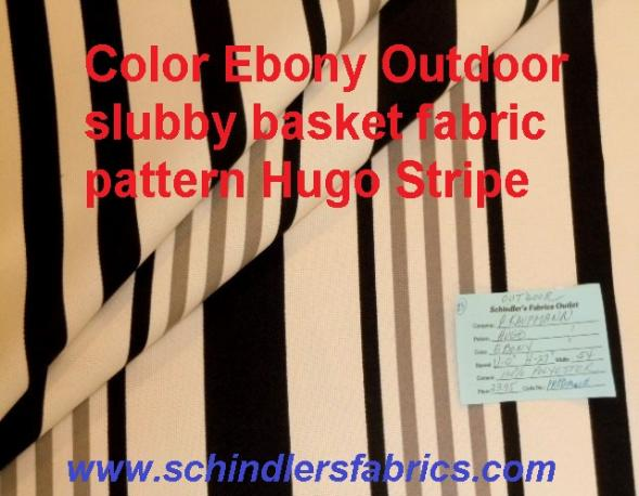 Schindler's Fabrics Shop tag for Indoo /Outdoor Pattern Hugo Stripe color Ebony