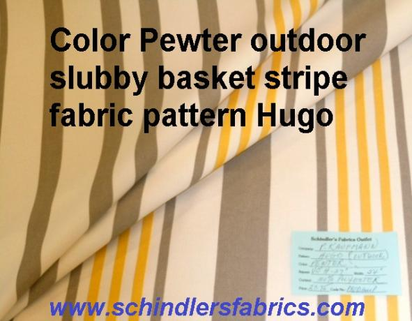 Schindler's Fabric Shop tag for Indoor/Outdoor Pattern Hugo Stripe color Pewter