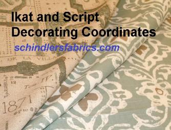 Coordinating Ikat and Script Decorating Fabric Dersigns, patterns Kashmir in Color Seaglass and Jardin in color Horizon
