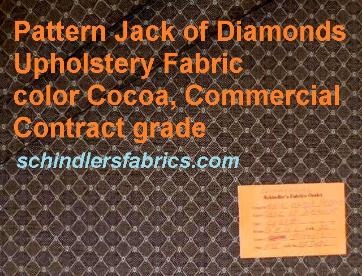 Pattern Jack of Diamonds Upholstery Fabric  color Cocoa, Commercial Contract grade, textured small geometric diamond pattern with dot accents