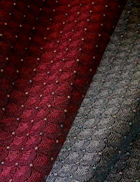 Draped image of Pattern Jacqueline Colors Burgundy or Graphite, woven textured small crest pattern
