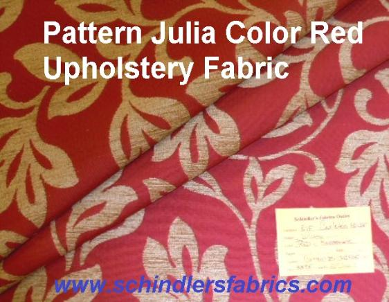 Schindler's Fabrics Shop tag for Pattern Julia Color Red Chenille and matelasse Upholstery Fabric
