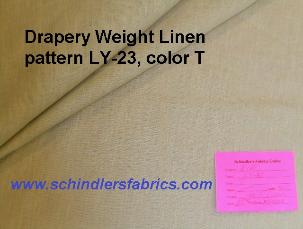 Drapery Weight Linen pattern LY-23, color T, color group taupe, mineral to gray with slight green cast
