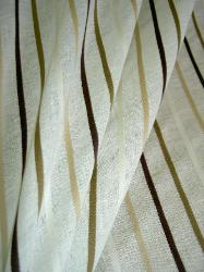 Linen Blend SemiSheer Drapery Fabric by Ralph Lauren Densmore Stripe Color Natural Closeout