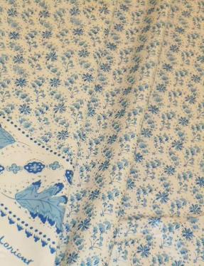 Draped Curtain image of Chintz hand printed pattern Lorient Color Blue, small floral with leaf design borders