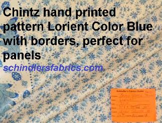 Chintz hand printed pattern Lorient color Blue,  small floral with leaf design borders, perfect for panels
