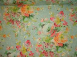 Covington Fabrics linen blend floral screen print, colors include aqua, pink, green, peach, and beige