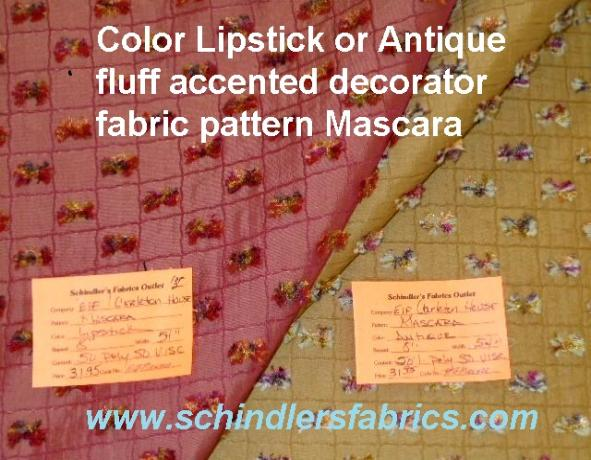 Pattern Mascara Decorator Fabric textured squares diamond background with sewn fluff accents, in colors Lipstick or Antique