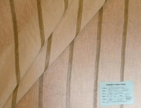 Schindler's Upholstery and Fabric Shop tag for SemiSheer Metallic Stripe Color Silver linen drapery fabric on Clearance